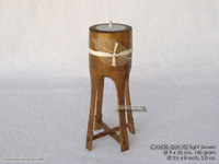 CANDB-QUA102 - Bamboo candle holders with candle, bamboo table candles in black, green light brown, maroon, and natural finishes, manufacturer, exporter wholesale directly from Thailand