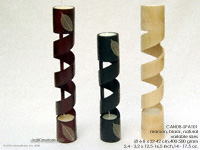 CANDB-SPA101 - Spiral bamboo candles and candle holders in black, maroon and natural finishes. Wholesale from Thailand