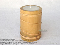 CANDB-TAB103 - Bamboo candle holders with candle, bamboo table candles in black, green light brown, maroon, and natural finishes. Wholesale bamboo candles from Thailand.
