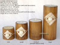CANDB-TAB104 - Bamboo candle holders with candle, bamboo table candles in black, green light brown, maroon, and natural finishes, manufacturer, exporter wholesale directly from Thailand