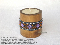 CANDB-TAB111 - Bamboo candle holders with candle, bamboo table candles in black, green light brown, maroon, and natural finishes, manufacturer, exporter wholesale directly from Thailand