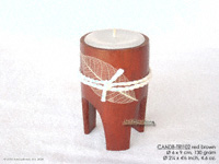 CANDB-TRI102 - Bamboo candle holders with candle, bamboo table candles in black, green light brown, maroon, and natural finishes, manufacturer, exporter wholesale directly from Thailand