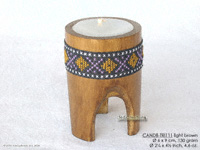 CANDB-TRI111 - Bamboo candle holders with candle, bamboo table candles in black, green light brown, maroon, and natural finishes, manufacturer, exporter wholesale directly from Thailand