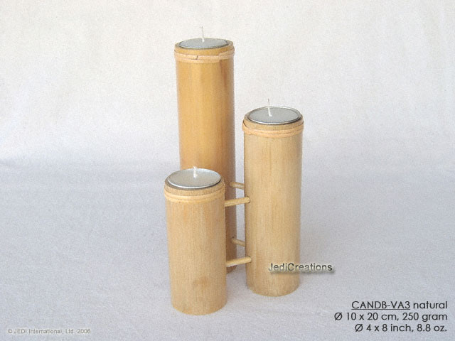 CANDB-VA3 - Bamboo candle holders with candle, bamboo table candles in black, green light brown, maroon, and natural finishes, manufacturer, exporter wholesale directly from Thailand