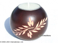 CAMA-BOC101 Fern Twigs, wholesale ball shaped carved mango wood candle holder; handmade in Thailand