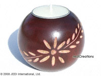 CAMA-BOC102 Daisy Twigs, wholesale ball shaped carved mango wood candle holder; handmade in Thailand