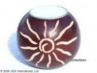 CAMA-BOC103 Aztec Sun, wholesale ball shaped carved mango wood candle holder; handmade in Thailand