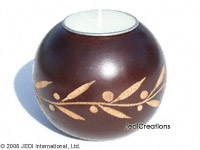CAMA-BOC103 Doublet Twig, wholesale ball shaped carved mango wood candle holder; handmade in Thailand