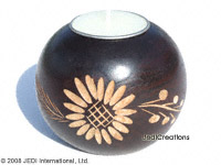 CAMA-BOC105 Sunflower, wholesale ball shaped carved mango wood candle holder; handmade in Thailand