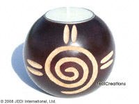 CAMA-BOC106 Spiral, wholesale ball shaped mango wood candle holder; handmade in Thailand