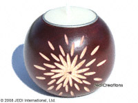 CAMA-BOC107 Starburst, wholesale ball shaped carved mango wood candle holder; handmade in Thailand