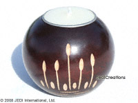 CAMA-BOC108 Needle Mushrooms, wholesale ball shaped carved mango wood candle holder; handmade in Thailand