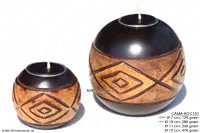 CAMA-BOC110 Aztec, wholesale ball shaped mango wood candle holder; handmade in Thailand