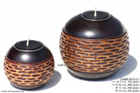 CAMA-BOC111 Netscape, wholesale ball shaped mango wood candle holder; handmade in Thailand