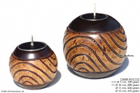 CAMA-BOC112 Contour, wholesale ball shaped mango wood candle holder; handmade in Thailand