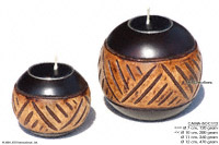 CAMA-BOC113 InteGrated, wholesale ball shaped mango wood candle holder; handmade in Thailand