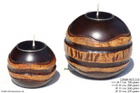 CAMA-BOC114 Mississippi, wholesale ball shaped mango wood candle holder; handmade in Thailand