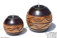 CAMA-BOC115 Nile, wholesale ball shaped mango wood candle holder; handmade in Thailand