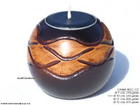 CAMA-BOC117 Netted, wholesale ball shaped mango wood candle holder; handmade in Thailand