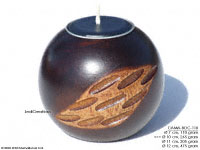 CAMA-BOC118 Crodiam, wholesale ball shaped mango wood candle holder; handmade in Thailand