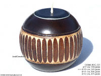 CAMA-BOC121 Fenced, wholesale ball shaped mango wood candle holder; handmade in Thailand