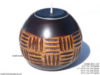 CAMA-BOC122 Grateband, wholesale ball shaped mango wood candle holder; handmade in Thailand