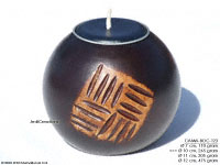 CAMA-BOC123 Squagrate, wholesale ball shaped mango wood candle holder; handmade in Thailand