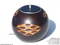 CAMA-BOC124 Landiam, wholesale ball shaped mango wood candle holder; handmade in Thailand