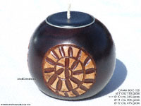 CAMA-BOC125 Rebirth, wholesale ball shaped mango wood candle holder; handmade in Thailand