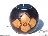 CAMA-BOC126 Air Lotus, wholesale ball shaped mango wood candle holder; handmade in Thailand