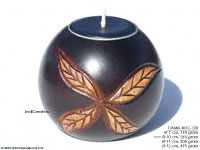 CAMA-BOC128 Ribbon Leaves, wholesale ball shaped mango wood candle holder; handmade in Thailand