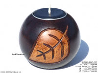 CAMA-BOC129 Sour Mango Leaf, wholesale ball shaped mango wood candle holder; handmade in Thailand