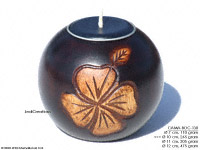CAMA-BOC130 Clover 4, wholesale ball shaped mango wood candle holder; handmade in Thailand