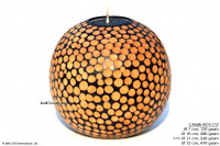 CAMA-BODRC121 Dots, wholesale ball shaped mango wood candle holder; handmade in Thailand