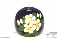 CAMA-BRC119 Hand Painted, wholesale ball shaped mango wood candle holder; handmade in Thailand
