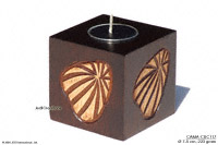 CAMA-CUC101 Sea Shells, wholesale cubic mango wood candle holders; northern Thailand artisans direct