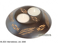 CAMA-FBC110 Carved, double disc wholesale mango wood candle holder; northern Thailand artisans direct