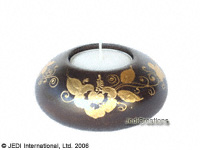 CAMA-FCP103 Gold Painted, elliptical wholesale mango wood candle holders; northern Thailand artisans direct