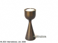CAMA-LGP101 Solid, low goblet shaped wholesale mango wood candle holder; northern Thailand artisans direct
