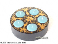 CAMA-PIP103 Gold Painted, flush pie shaped wholesale mango wood candle holders; northern Thailand artisans direct