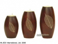 CAMA-RCD101 Solid, elliptic cylinder wholesale mango wood candle holders; northern Thailand artisans direct