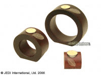 CAMA-ROL101 Rubber Tree Leaf, round frame wholesale mango wood candle holders; northern Thailand artisans direct