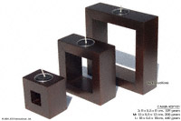CAMA-RSP101 Hi Tech, wholesale rectangular frame mango wood candle holders; northern Thailand artisans direct