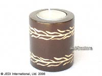 CAMA-TUC108 Carved, tubular wholesale mango wood candle holder; northern Thailand artisans direct