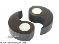 CAMA-YYP101 Hi Tech, wholesale ying yang mango wood candle holders; northern Thailand artisans direct