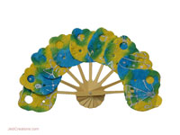 FANHA-106 Batik Kitten Shape - Wholesale Paper Fans, manufacturer wholesale directly from Thailand, JediCreations