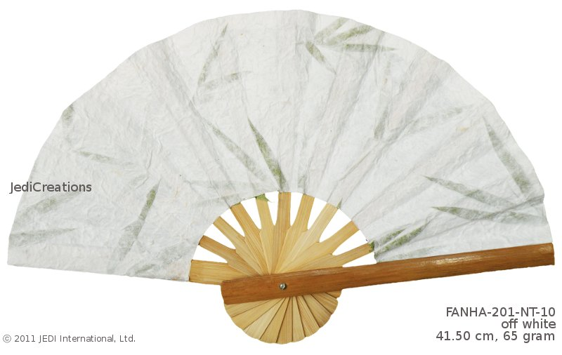 Off-white FANHA-201-NT-10 Wholesale Wedding Fans with Pressed Flowers, Manufacturer Artisans, Thailand