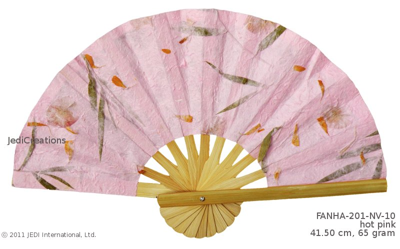 Hot Pink FANHA 201 NV 10 Wholesale Wedding Fans In Pressed Flowers