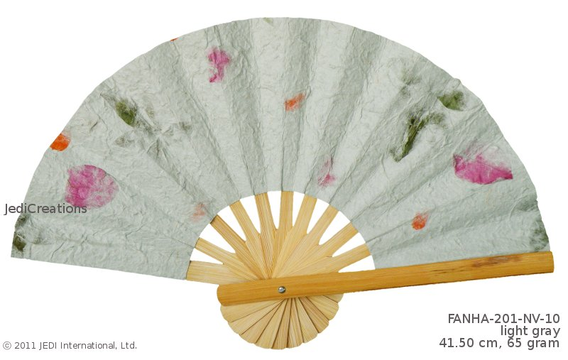 Light Gray FANHA201NV10 Wholesale Pressed Flowers Paper Wedding Fans