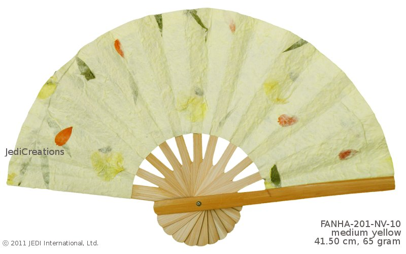 Medium Yellow FANHA201NV10 Wholesale Pressed Flowers Paper Wedding Fans